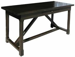 """60"""" L Writing Desk Solid Birch Wood Distressed Brown Finish"""
