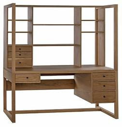 """72"""" T Office Desk Hand Crafted Solid Oak Natural Finish Atta"""