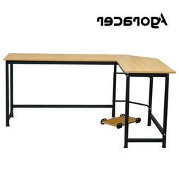 Agoracer 90°  L-Shaped Office Writing Desk Beech Wood Color