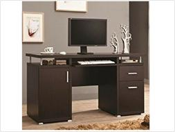 Computer Desk with 2 Drawers and Cabinet Cappuccino