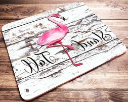 Pink FLAMINGO Mouse Pad Inspirational Quote Shabby Chic Desi