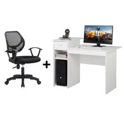Adjustable Swivel Office Chair Black and Writing Table Compu