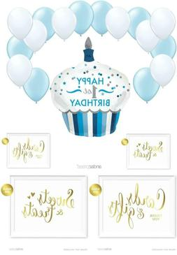 Andaz Press Balloon Party Kit with Gold Ink Signs, 1st Birth