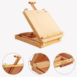 Art Wood Table Painting Easel Portable Drawer Sketch Box Dra
