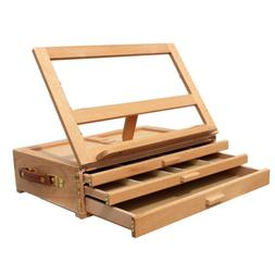 Artist Wood Easel Portable Desk Table-Top Easel Storage Draw