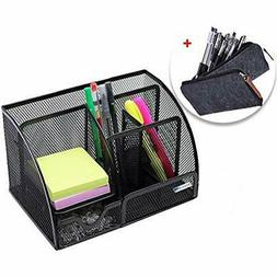 BESTBAOU Office Products, Mesh Desk Organizer, With 6 Compar