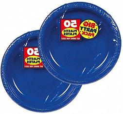 Amscan Big Party Pack Plastic Dessert Plates, 7-Inch, Bright