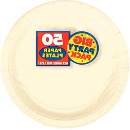 Amscan Big Party Pack 50 Count Paper Dessert Plates, 7-Inch,