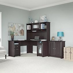Cabot L Shaped Desk, Hutch, and Low Storage Cabinet with Doo