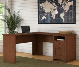 Cherry L Shaped Computer Desk w/ Hutch Drawers Office Furnit