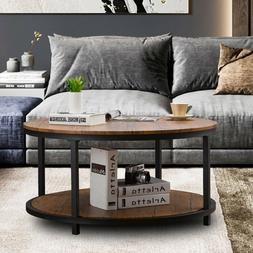Round Coffee Table 2-Tiers Sofa Table with Storage Shelves L