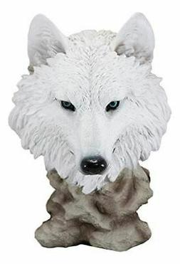 Ebros Large Ghost Albino Arctic Snow White Wolf Head Bust De