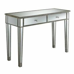 Mirrored Desk Vanity in Distressed Weathered White Finish
