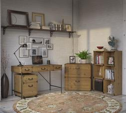 Home Office Furniture Set Rustic Desk Lateral File Cabinet B