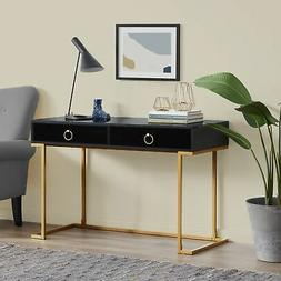 Home Two-Drawers Computer Desk Vanity Table, Wood And Metal,