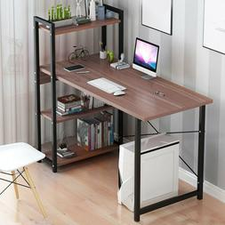 Wood Computer Desk with 4 Tier Shelves Modern PC Laptop Stud