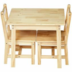 Kids Solid Natural Wood Table and 2 Chair Set Toddler Baby G