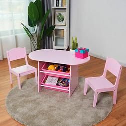 Kids Table and 2 Chairs Set with Storage Boxes For Toddler G