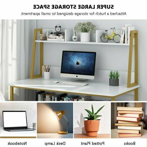 """47"""" Home Desk Hutch and Bookshelf Space Table"""