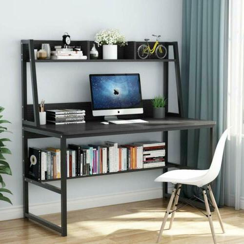 """47"""" Office Computer Desk with Hutch and Bookshelf Saving"""