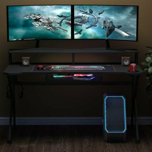 Gaming Computer Desk Laptop Workstation with Monitor Riser a