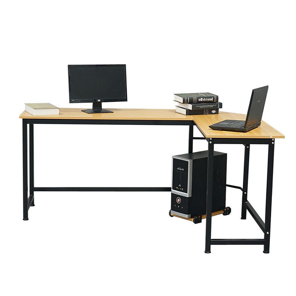 Agoracer 90° L-Shaped Writing Desk Beech Wood Color