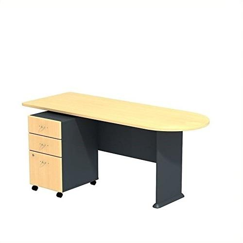 BBF A Desk with 3 Pedestal in Beech