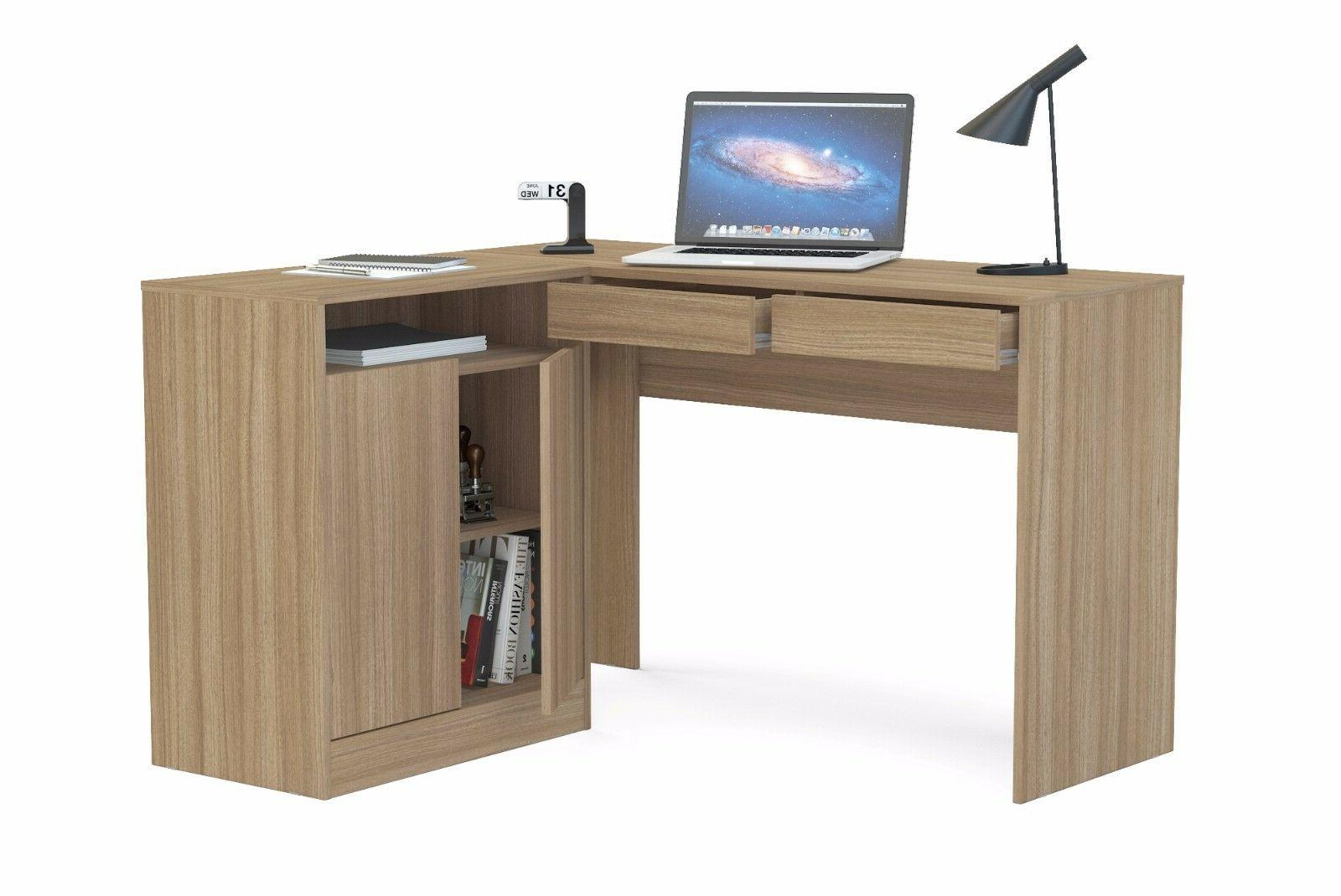Boahaus Brown L-Desk, drawers, closed