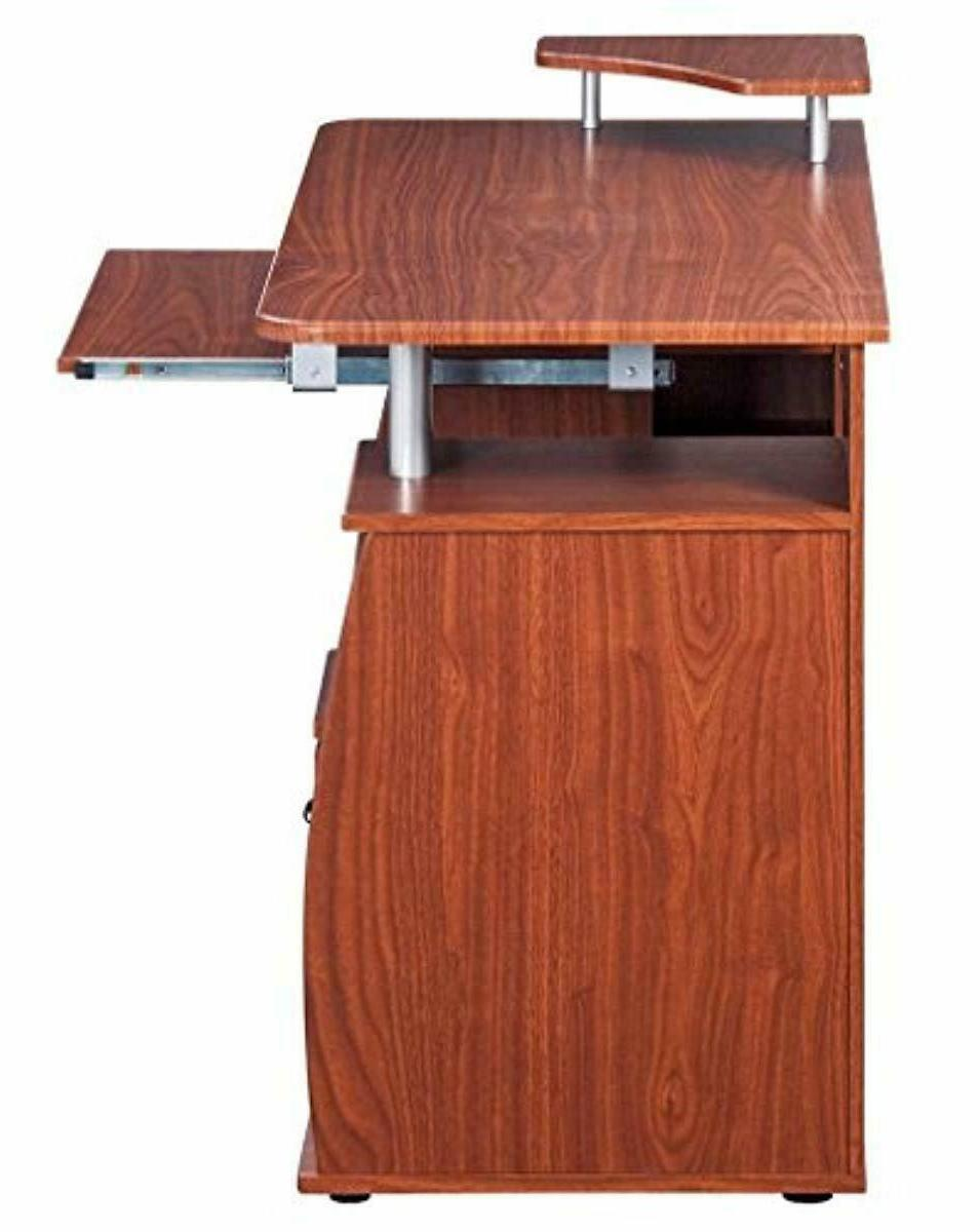 Complete Workstation With Storage. Color: Mahogany