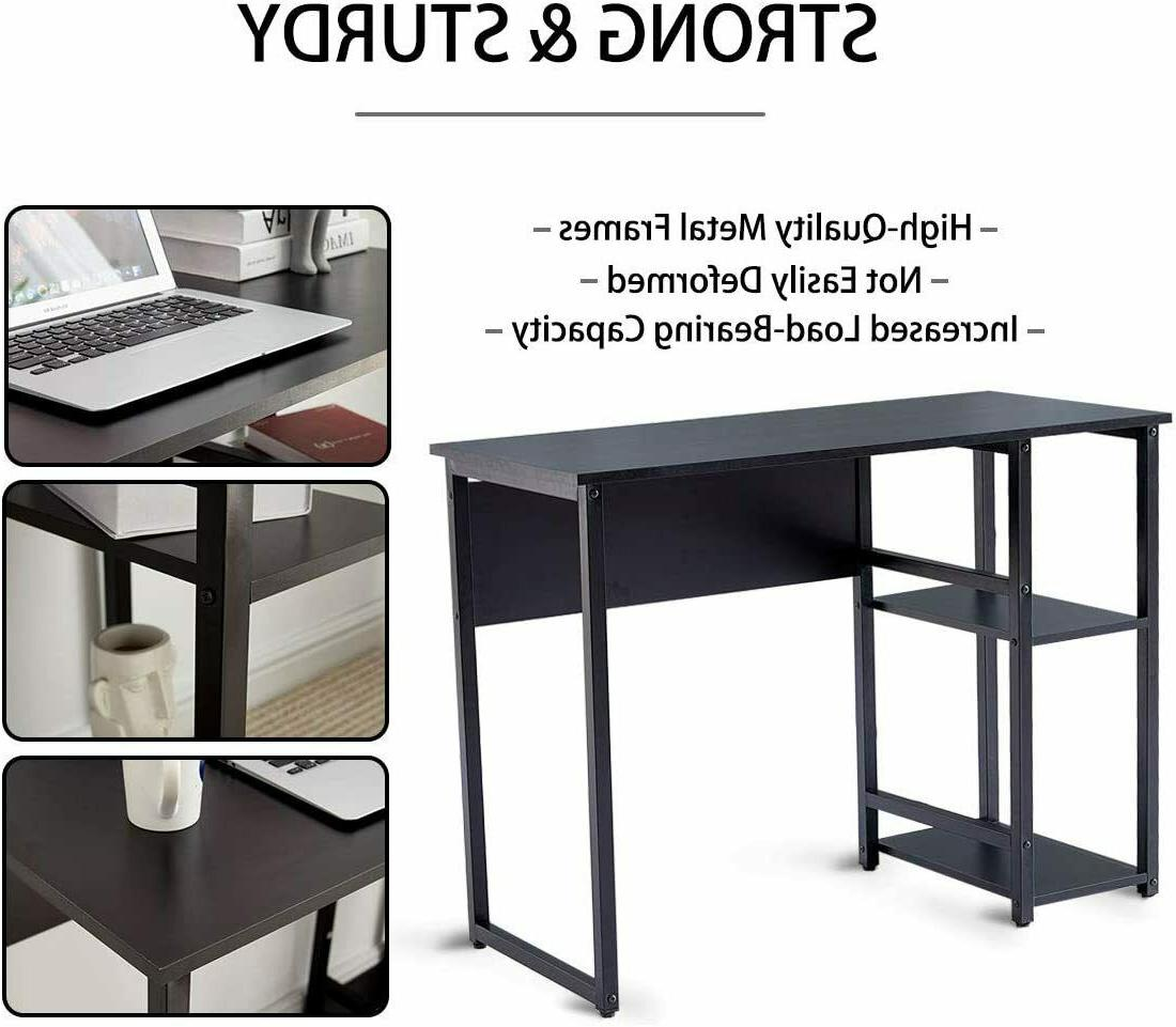 Computer Table With 2 Shelves Home Office Workstation