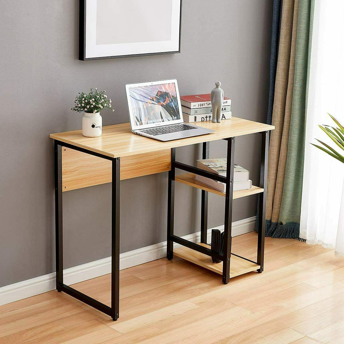 Computer Desk Laptop Table With Shelves Home Office Workstation