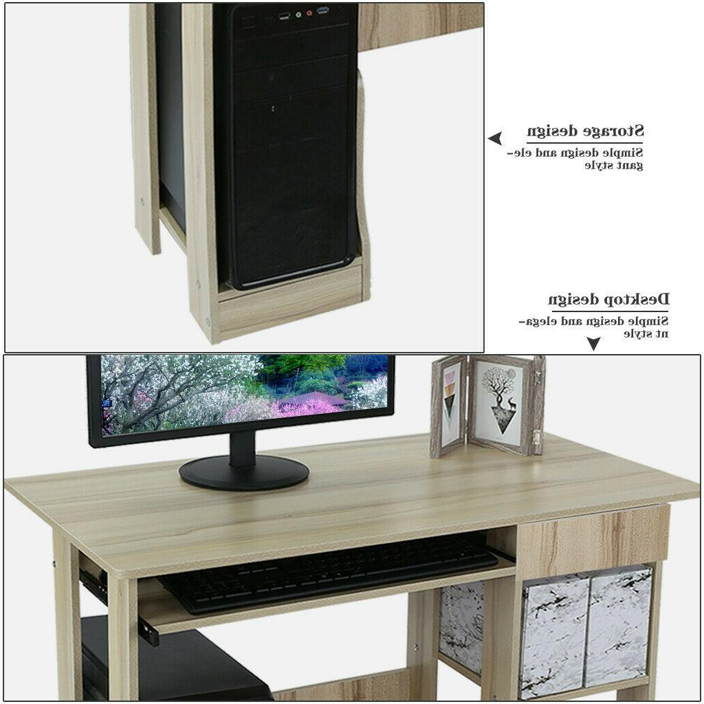 Table Wood Workstation Home Office &Drawer