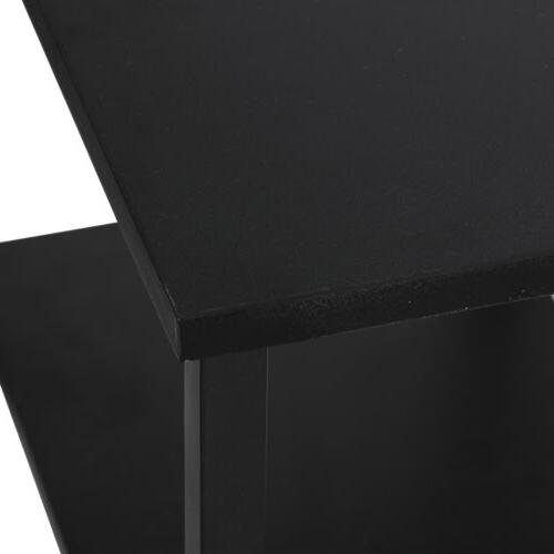 Black Desk Home Office Workstation Table With Tier