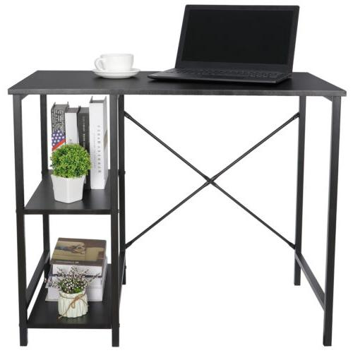Black Desk Home Office Study Workstation With Tier