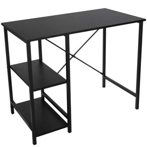 Black Computer Office Study Workstation Table With