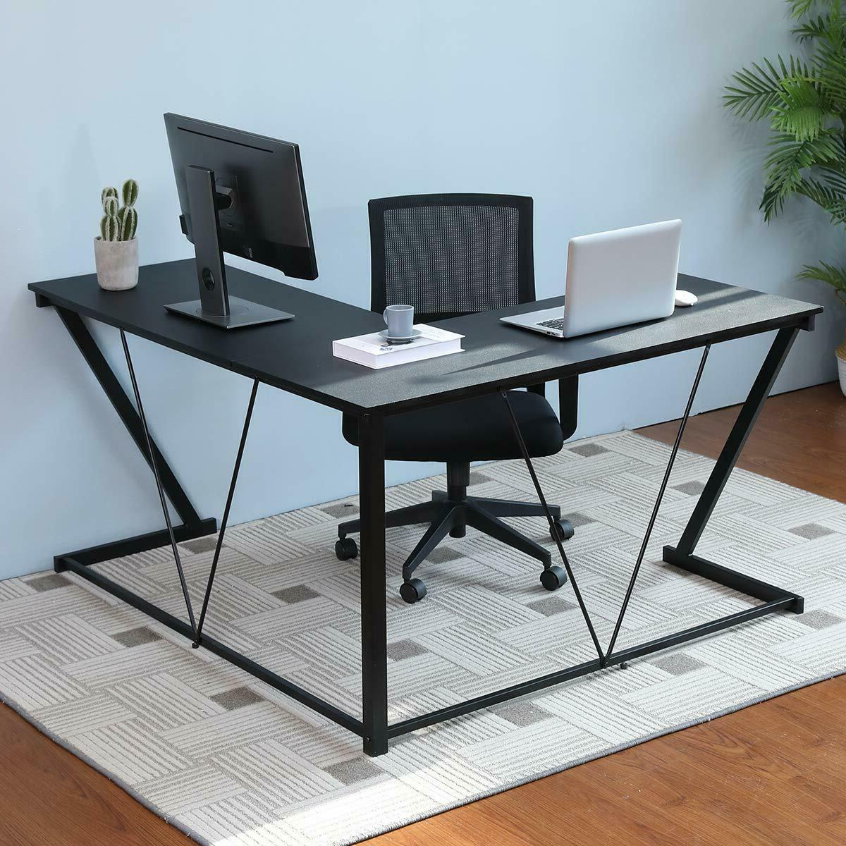 Computer Gaming Office Home Desk L-Shaped Metal Table Black