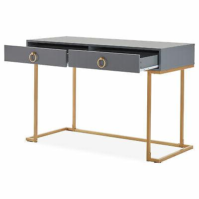 Home Desk Vanity And Gray and Gold