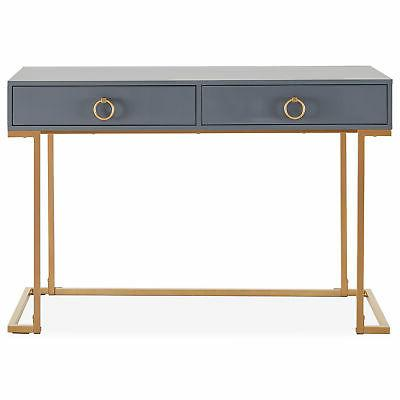 Home Office Two-Drawers Computer Desk And Metal Gray Gold