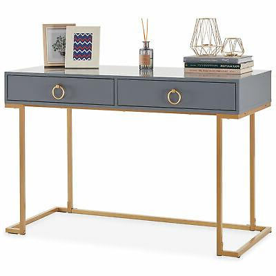Home Office Computer Desk Vanity Wood And Gray Gold