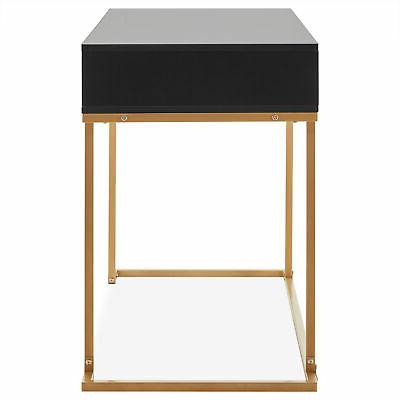 Home Two-Drawers Vanity Table, Metal, Black and