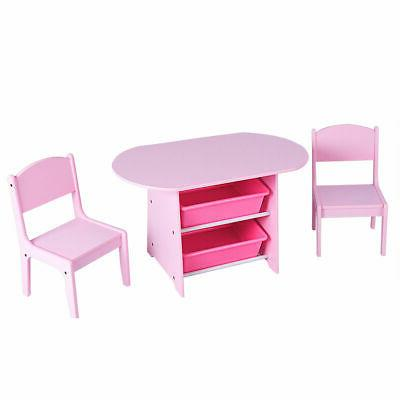 Kids Table & 2 Chairs Set & Storage Boxes Toddler Baby Gift