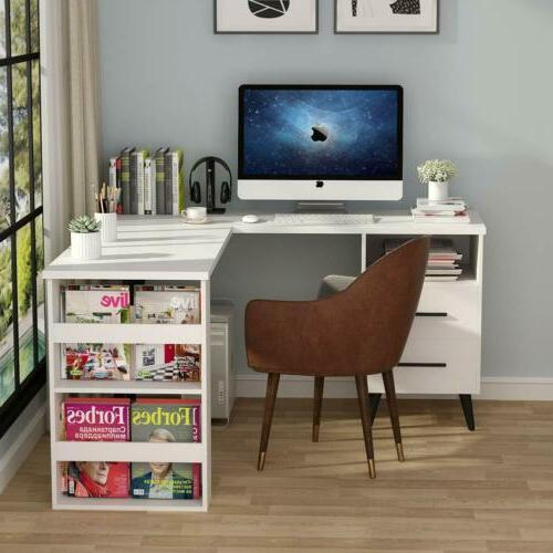 Executive Corner L Shaped Desk with Drawers Computer Table H