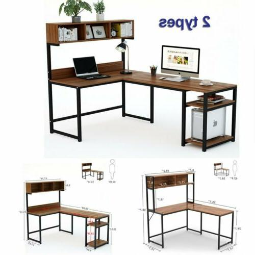 l shaped desk with hutch computer office