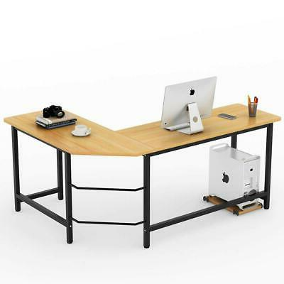 L-Shaped Wood Computer Gaming Laptop Table Office Home Desk Workstation