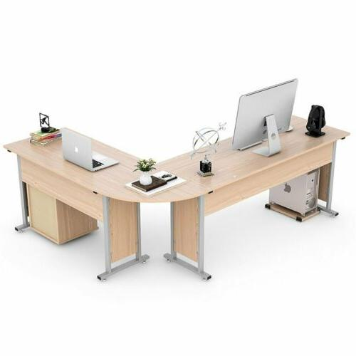 Large Modern L-Shaped Desk CornerTable for Home Office Wood