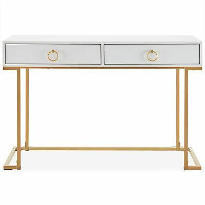Office Two-Drawers Vanity Table, Wood Metal, and