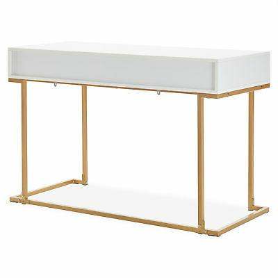 Office Two-Drawers Computer Vanity Table, Wood Metal, and