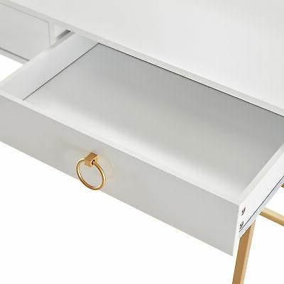 Office Vanity Table, Wood And Metal, White