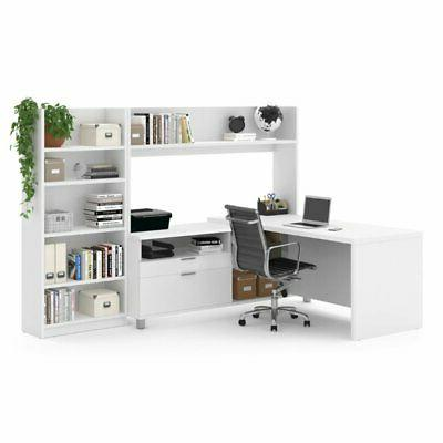 Bestar L-Shaped Office with Bookcase in