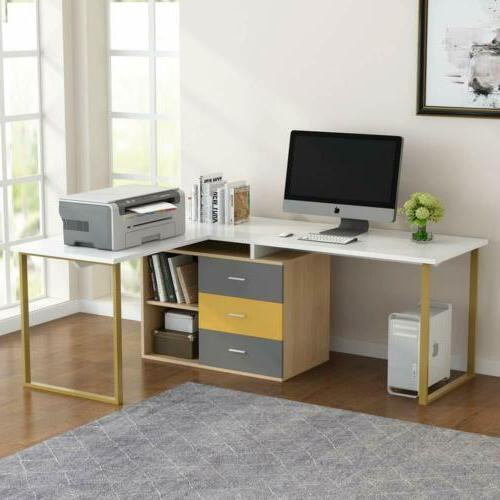 Reversible&Adjustable Double L-Shaped Desk for Home Office W